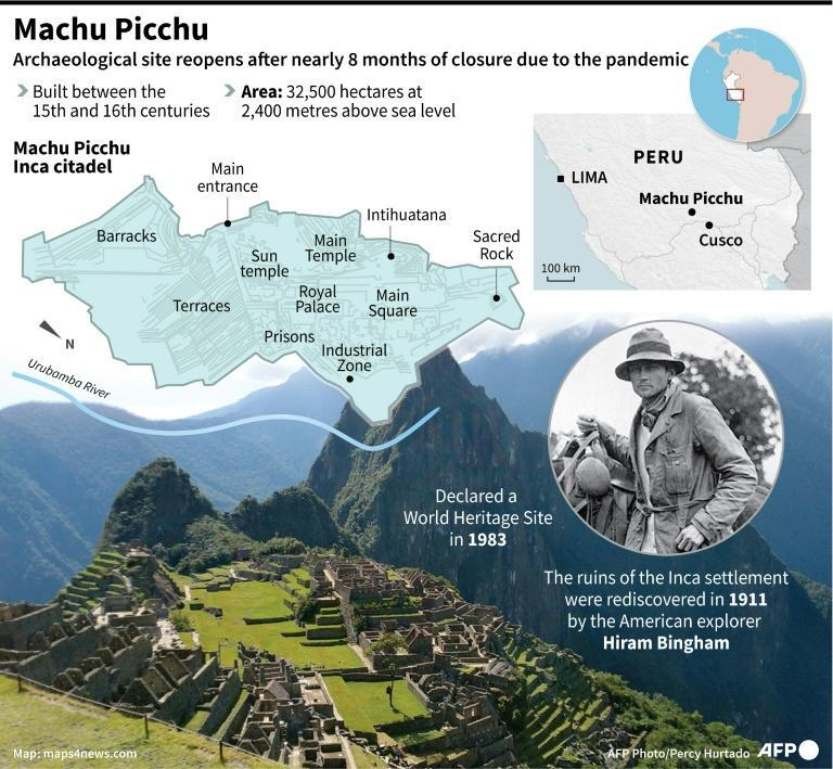 Map and factfile of the Inca citadel of Machu Picchu in Peru