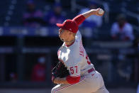 Philadelphia Phillies' Chase Anderson delivers a pitch during the first inning of a baseball game against the New York Mets in the first game of a doubleheader Tuesday, April 13, 2021, in New York. (AP Photo/Frank Franklin II)