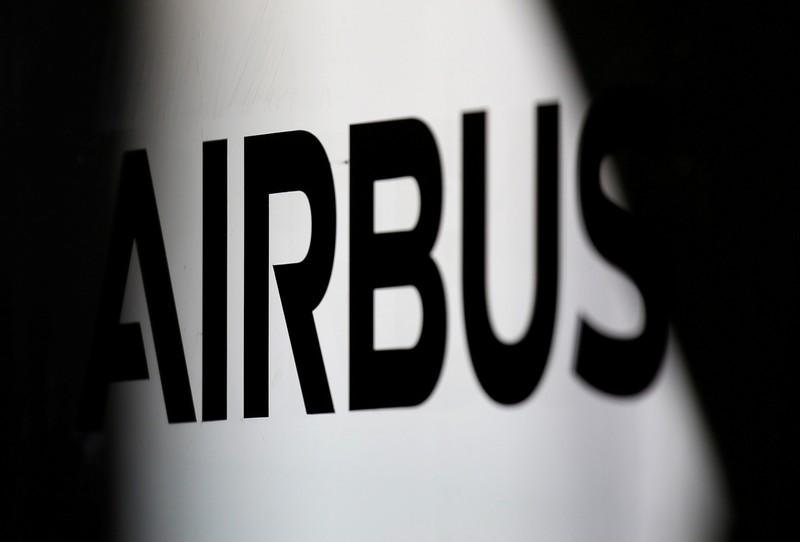 FILE PHOTO: The logo of Airbus is pictured at the aircraft builder's headquarters of Airbus in Colomiers near Toulouse