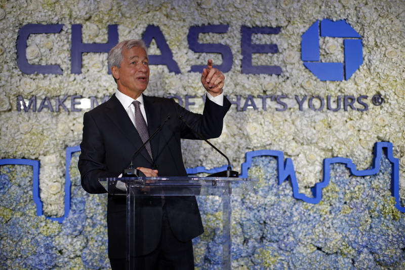 IMAGE DISTRIBUTED FOR JPMORGAN CHASE & CO- Jamie Dimon, Chairman and CEO, JPMorgan Chase, speaks at the Chase NYC Flagship, Tuesday, June 25, 2019 in New York. (Adam Hunger/AP Images for JPMorgan Chase & Co.)