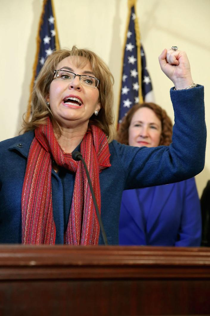Former Congresswoman and handgun violence survivor Gabby Giffords (D-Ariz.) speaks during a news conference about background checks for gun purchases at the Canon House Office Building on Capitol Hill on March 4, 2015.