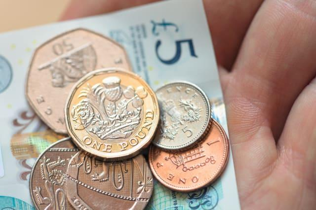 British currency close-up.