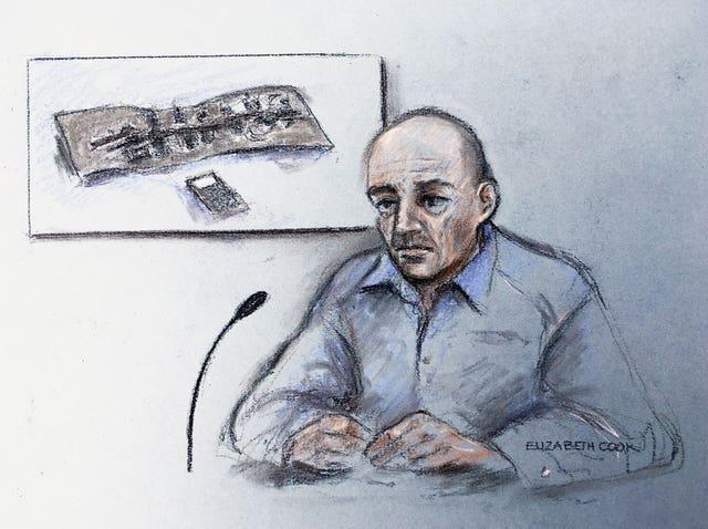 Court artist sketch of Steven Gallant during the inquest into the terror attack at Fishmongers' Hall