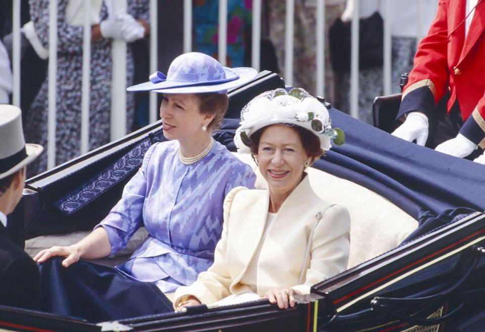 <p>At yet another Royal Ascot, Princess Margaret rode in the carriage with her niece, Princess Anne.</p>