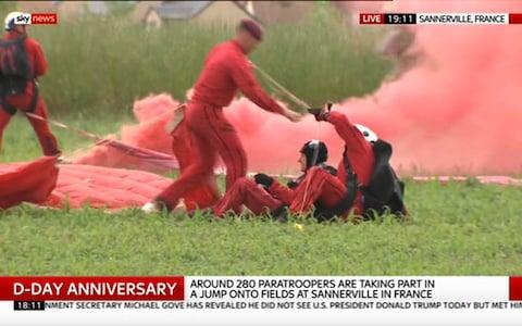 <span>Safe touchdown in Sannerville</span> <span>Credit: Sky News </span>