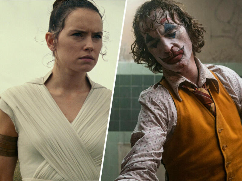"Rey (Daisy Ridley, l.) in ""Star Wars: Der Aufstieg Skywalkers"" und Joaquin Phoenix als ""Joker"" (Bild: [M] 2019 ILM and Lucasfilm Ltd. All Rights Reserved./©2019 Warner Bros. Entertainment Inc)"