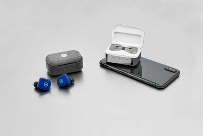 MW07 GO True Wireless Earphones in Electric Blue and MW07 PLUS True Wireless Earphones in White Marble