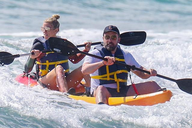 <p>The happy coupled braved the Hawaiian waves as they kayaked in Honolulu on Tuesday. Affleck is currently shooting his new film <em>Triple Frontier</em> in Hawaii, but managed to find some downtime to play in the pacific with his lady. (Photo: Flightrisk/BACKGRID)<br><br></p>