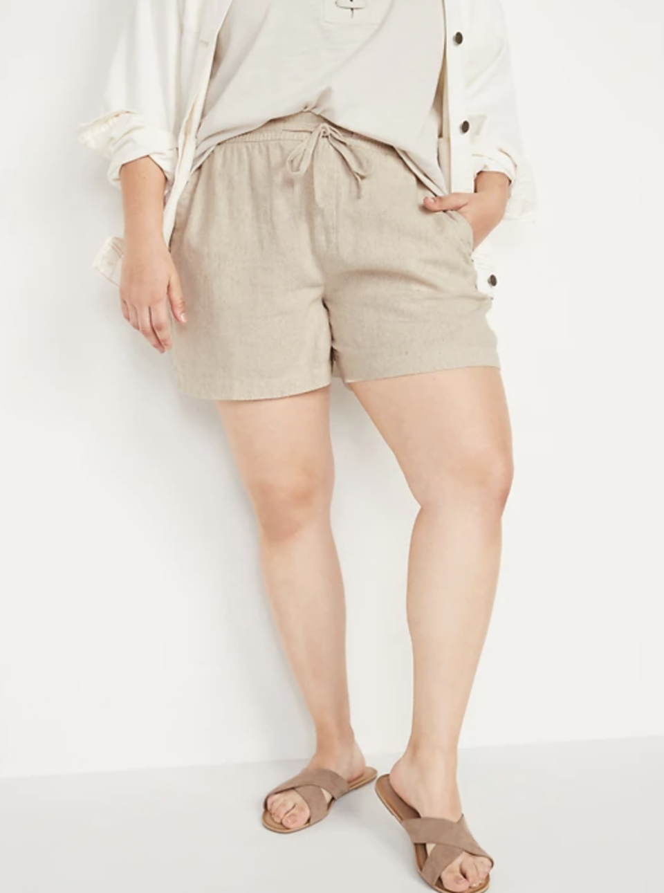 High-Waisted Linen-Blend Shorts in Flax Linen (Photo via Old Navy)