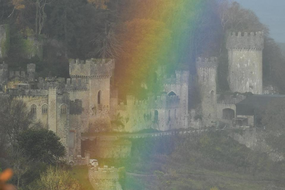 A rainbow appeared over Gwrych Castle in Abergele ahead of the launch of the new series of I'm A Celebrity… Get Me Out Of Here! (Jacob King/PA)