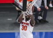New York Knicks forward Julius Randle makes a jump shot against the Atlanta Hawks to give the Knicks the lead in the fourth quarter of an NBA basketball game Wednesday, April 21, 2021, in New York. (Wendell Cruz/Pool Photo via AP)