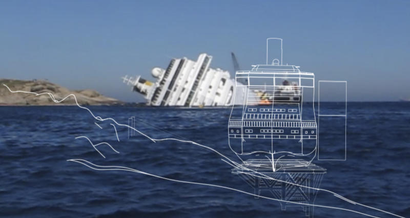 A picture made available by Costa press office, Friday, May 18, 2012, showing a simulation of the recovery of the Costa Concordia cruise ship. The head of a U.S.-owned marine salvage company chosen to remove the wreck of the Costa Concordia cruise ship from the waters off Tuscany is predicting the vessel will be ready for towing by early next year. Thirty-two people perished when the Concordia slammed into a reef off Giglio on Jan. 13. The Concordia's captain is under house arrest while being investigated for alleged manslaughter and abandoning ship during evacuation. (AP Photo/Costa Press Office)