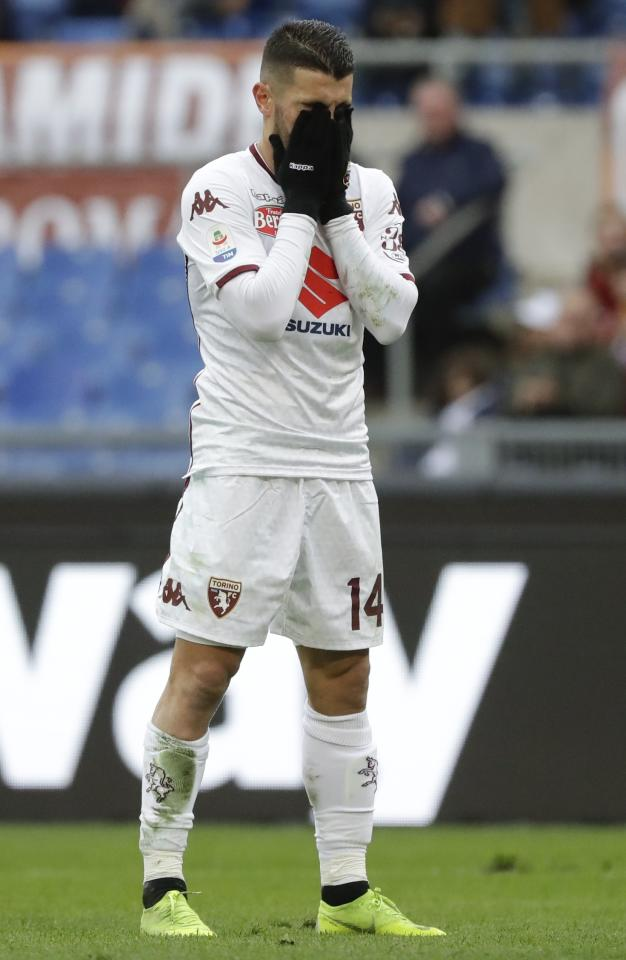 Torino's Iago Falque reacts after missing a scoring chance during a Serie A soccer match between Roma and Torino, at the Rome Olympic Stadium, Saturday, Jan. 19, 2019. (AP Photo/Andrew Medichini)