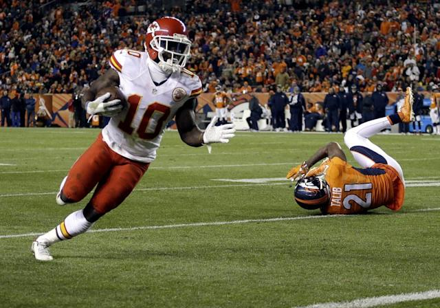 "<a class=""link rapid-noclick-resp"" href=""/nfl/players/29399/"" data-ylk=""slk:Tyreek Hill"">Tyreek Hill</a> scored six touchdowns for the Chiefs in 2016. (AP)"