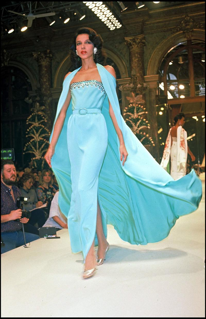 A model wears a blue gown from the house's spring/summer 1987 couture collection.