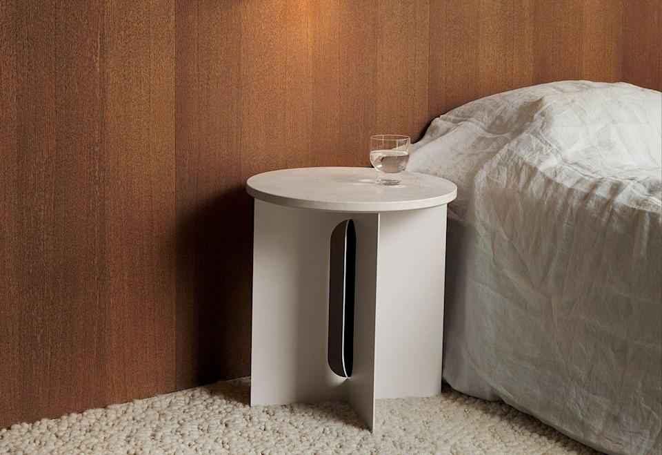 """<p>Laser-cut for precision, the steel base of this elegant side table has a clean, well-balanced silhouette. It's available in simple black or white, while the steel top can be swapped for Emparador, Nero Marquina or Calacatta Viola marble. From £290, <a href=""""https://www.utilitydesign.co.uk"""" rel=""""nofollow noopener"""" target=""""_blank"""" data-ylk=""""slk:utilitydesign.co.uk"""" class=""""link rapid-noclick-resp"""">utilitydesign.co.uk</a></p>"""