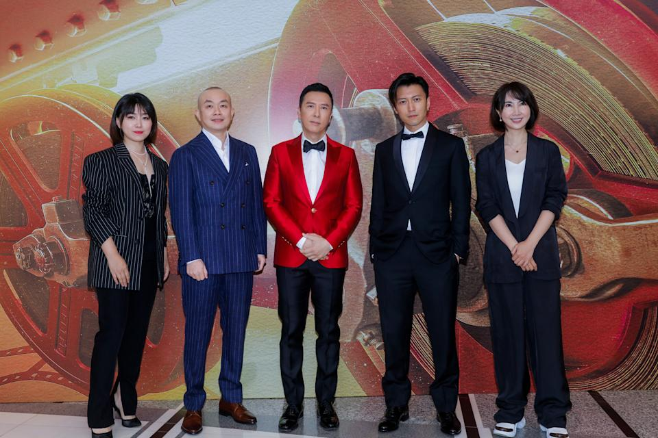 SHANGHAI, CHINA - JUNE 11: Actors Donnie Yen Ji-dan (C) and Nicholas Tse Ting-fung (2nd R) attend opening ceremony of the 24th Shanghai International Film Festival at Shanghai Grand Theatre on June 11, 2021 in Shanghai, China. (Photo by VCG/VCG via Getty Images)
