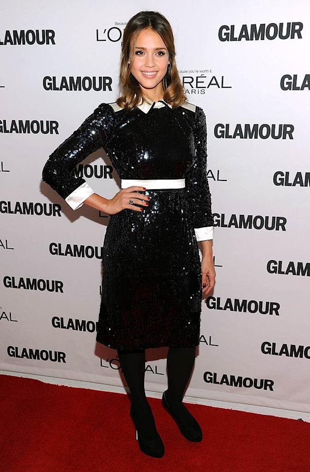 Jessica Alba showed up in a sequined frock designed by Tory Burch, the recipient of Glamour's Fashion Force award. (11/7/2011)