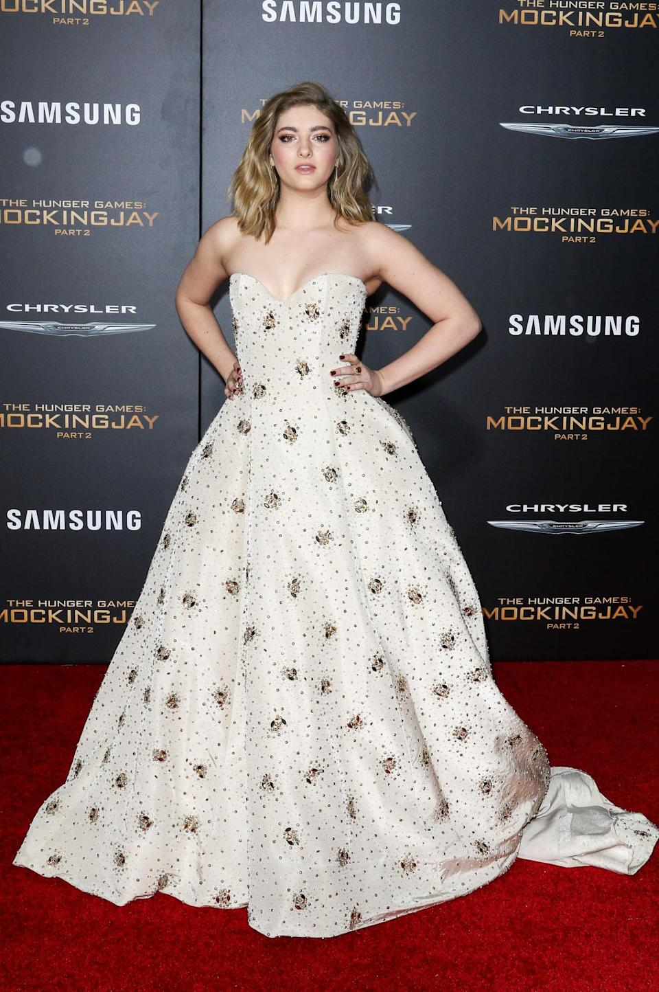 """Willow Shields in Naeem Khan at """"The Hunger Games: Mockingjay Part 2″ LA premiere. [Photo: Rex]"""