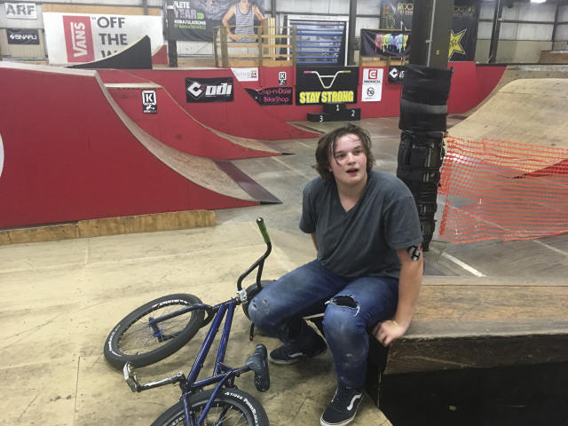 BMX rider Hannah Roberts takes a break from practicing at The Kitchen BMX & Skatepark in South Bend, Ind., Thursday, June 14, 2018. Roberts was the 2017 UCI BMX Freestyle Park world champion. Perhaps just as impressively, she is a National Honor Society student back home in Buchanan, Michigan. (AP Photo/Genaro Armas)