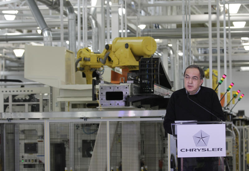 Chrysler Group LLC Chairman and CEO Sergio Marchionne announces a $374 million investment in two Indiana plants at an investment and jobs announcement event at the Chrysler transmission plat in Kokomo, Ind., Thursday, Feb. 28, 2013. Chrysler said Thursday it will invest nearly $400 million and create 1,250 new jobs at transmission and metal casting factories in the Kokomo, Indiana, area. (AP Photo/AJ Mast)