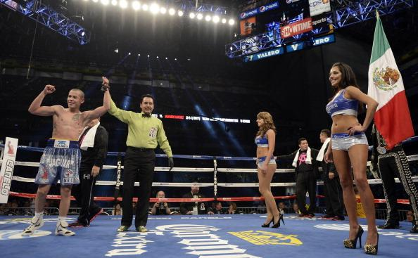 SAN ANTONIO, TX - APRIL 20: Andres Gutierrez celebrates his 5th Round TKO victory over Salvador Sanchez in the Vacant WBC Silver Super Bantamweight Title Fight, during the Canelo vs. Trout Super Welterwight Title Fight at the Alamodome on April 20, 2013 in San Antonio, Texas. (Photo by Donald Miralle/Golden Boy/Golden Boy via Getty Images)