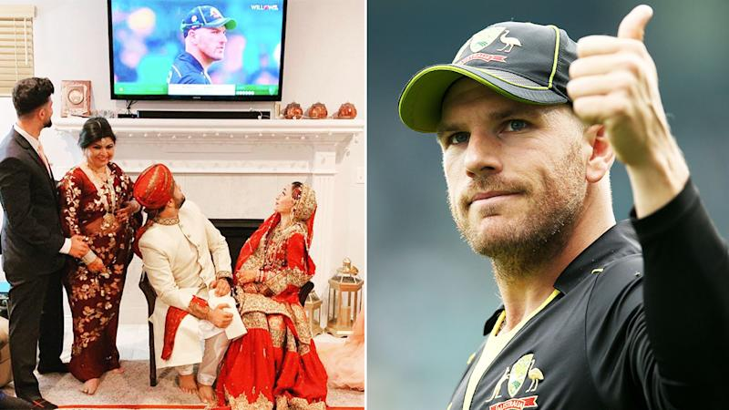 Aussie skipper Aaron Finch was happy to be part of the couple's wedding day.