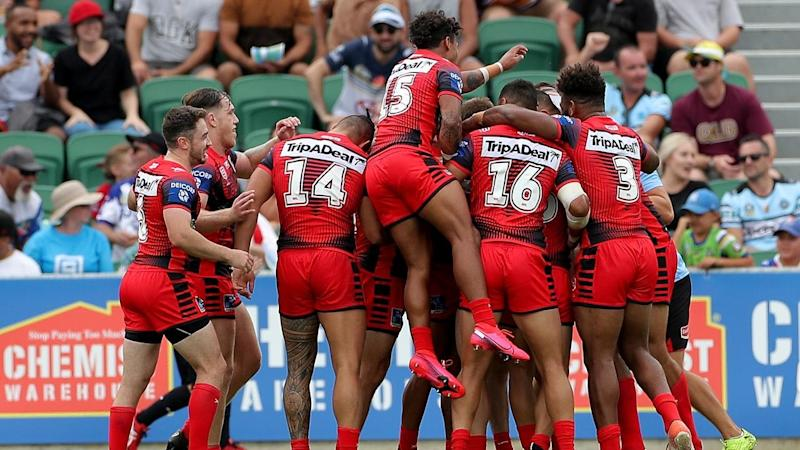 St George Illawarra are through to the NRL Nines semi-finals after pipping Penrith with a lucky try