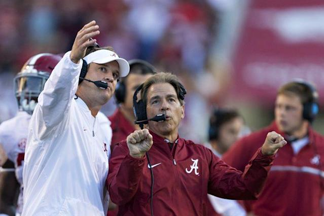 Nick Saban and Alabama would likely still make the playoff even if they lose a game. (Getty)
