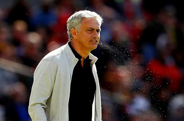 "Soccer Football - Premier League - Manchester United vs Watford - Old Trafford, Manchester, Britain - May 13, 2018 Manchester United manager Jose Mourinho Action Images via Reuters/Jason Cairnduff EDITORIAL USE ONLY. No use with unauthorized audio, video, data, fixture lists, club/league logos or ""live"" services. Online in-match use limited to 75 images, no video emulation. No use in betting, games or single club/league/player publications. Please contact your account representative for further details. TPX IMAGES OF THE DAY"