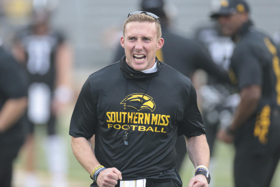 HATTIESBURG, MS - SEPTEMBER 19: Southern Miss Golden Eagles interim head coach Scotty Walden gets his team fired up during the game between the Southern Miss Golden Eagles and the Louisiana Tech Bulldogs on September 19, 2020, at M.M. Roberts Stadium in Hattiesburg, MS. (Photo by Bobby McDuffie/Icon Sportswire via Getty Images)