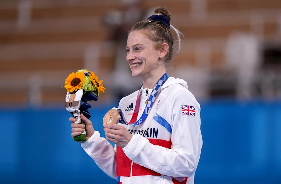 Great Britain's Bryony Page poses with her bronze medal after finishing third in the Women's Trampoline Gymnastics at Ariake Gymnastic Centre on the seventh day of the Tokyo 2020 Olympic Games in Japan. Picture date: Friday July 30, 2021. (Photo by Mike Egerton/PA Images via Getty Images)