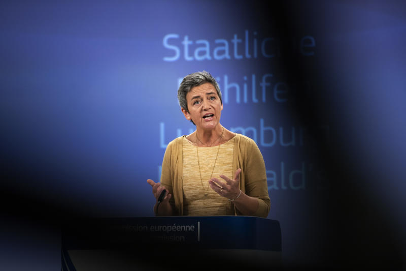 European Competition Commissioner Margrethe Vestager talks to journalists during a news conference at the European Commission headquarters in Brussels, Wednesday, Sept. 19, 2018. The European Union has ruled that Luxembourg did not give the U.S. fast food giant McDonald's a special sweet tax deal and that the non-taxation of some of its profits did not amount to illegal state aid. (AP Photo/Francisco Seco)