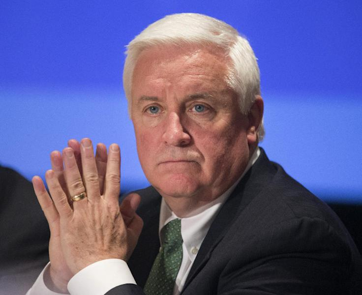FILE - In a Feb. 23, 2013 file photo Gov. Tom Corbett of Pennsylvania listens to discussions about state and federal tax reform in Washington. Corbett announced Wednesday, Oct. 16, 2013, Philadelphia schools will get an extra $45 million from the state as the district struggles with its worst financial crisis in memory. (AP Photo/Manuel Balce Ceneta, File)