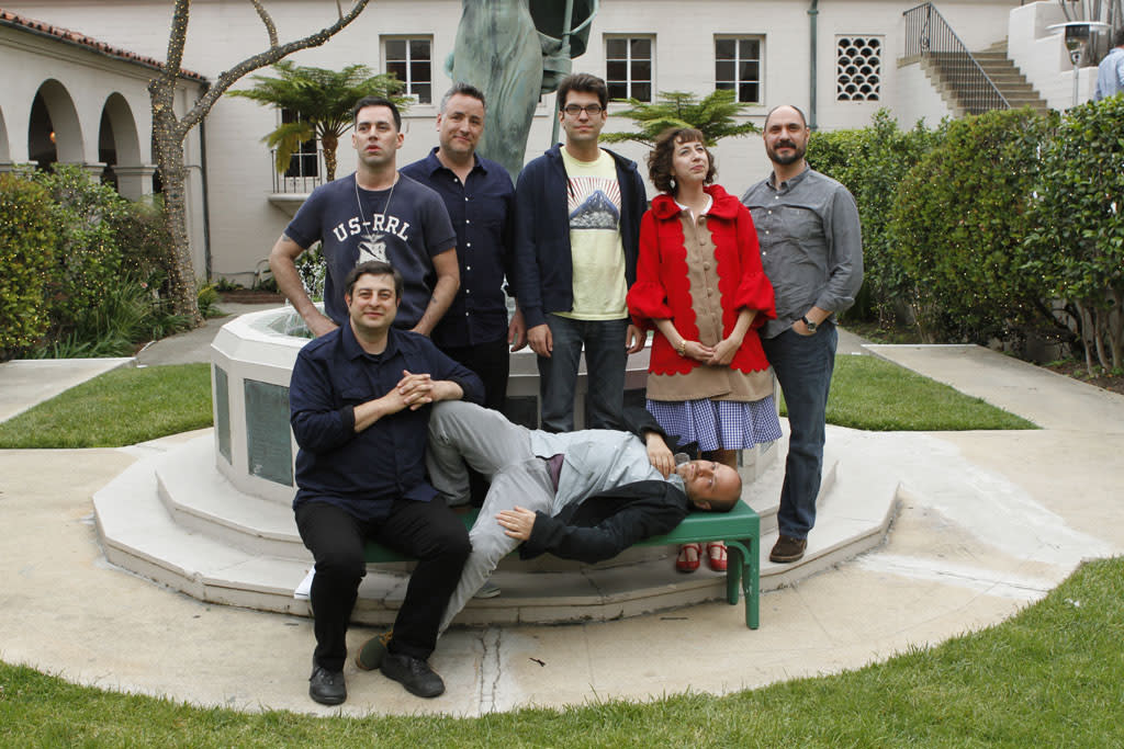 """Cast members Eugene Mirman, John Roberts, Larry Murphy, Dan Mintz, H. Jon Benjamin, Kristen Schaal and Creator and Executive producer Loren Bouchard attend """"Bob's Burgers Live!"""" at the WIlshire Ebell Theatre on Tuesday, May 7 in Los Angeles, CA."""