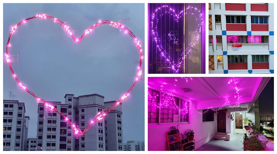 Pink Dot 2020 organisers called for people across Singapore to light up their homes with pink lights, in lieu of Pink Dot's traditional night light-up of Hong Lim Park. Households across the island decorated their homes and windows with fairy lights to affirm their support for LGBTQ equality. (Photos: Submissions to Pink Dot)