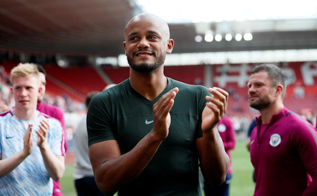 "Soccer Football - Premier League - Southampton vs Manchester City - St Mary's Stadium, Southampton, Britain - May 13, 2018 Manchester City's Vincent Kompany applauds fans after the match REUTERS/David Klein EDITORIAL USE ONLY. No use with unauthorized audio, video, data, fixture lists, club/league logos or ""live"" services. Online in-match use limited to 75 images, no video emulation. No use in betting, games or single club/league/player publications. Please contact your account representative for further details."