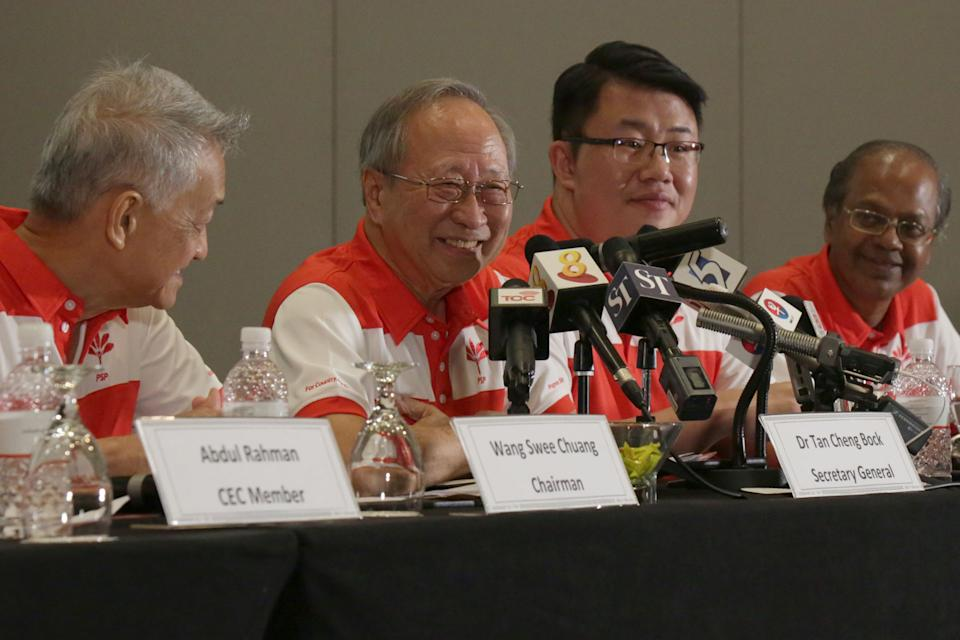 Former presidential candidate Tan Cheng Bock addresses reporters at the launch of the Progress Singapore Party on Friday, 26 July 2019. PHOTO: Dhany Osman/Yahoo News Singapore