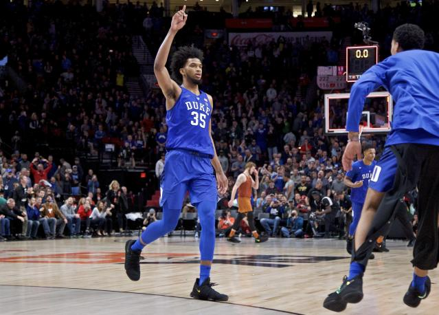 Marvin Bagley's 34 points helped Duke rally from 16 down and escape with an overtime win.