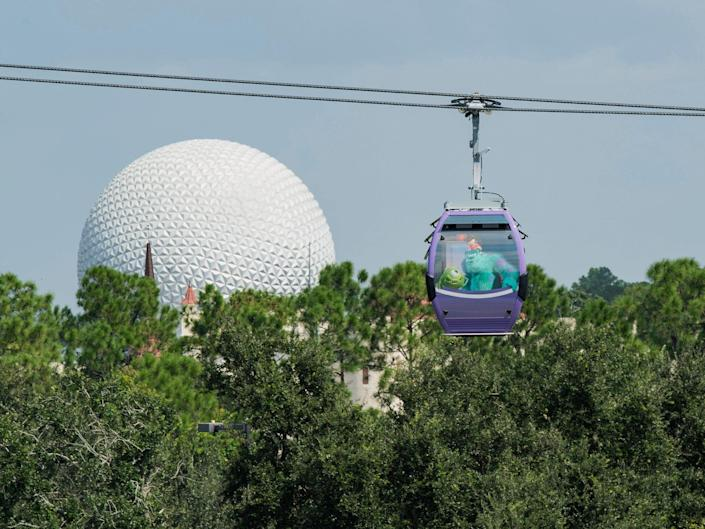 two gondolas from disney's skyliner flying past epcot ball