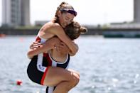 <p>Claire Bove and Laura Tarantola of Team France celebrate winning the silver medal during the Lightweight Women's Double Sculls Final A on day six of the Tokyo 2020 Olympic Games at Sea Forest Waterway on July 29, 2021 in Tokyo, Japan. (Photo by Maja Hitij/Getty Images)</p>