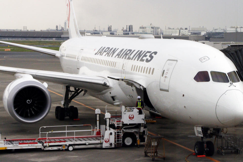 TOKYO, JAPAN - 2021/04/25: A Japan Airline (JAL) airplane seen at the Tokyo International Airport, commonly known as Haneda Airport in Tokyo.  (Photo by James Matsumoto / SOPA Images / LightRocket via Getty Images)