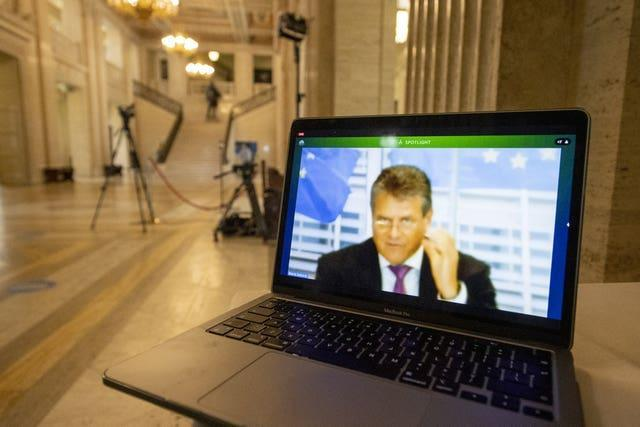 EU's chief Brexit negotiator and Commission vice president Maros Sefcovic speaking from Brussels during an online meeting with the Northern Ireland executive office committee at Stormont