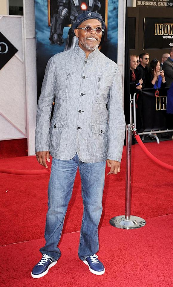 """As usual, self-professed comic book fan Samuel L. Jackson, who portrays Nick Fury in the film, kept it cool and casual in a Giorgio Armani Nehru jacket, jeans, and his signature Kangol cap. Steve Granitz/<a href=""""http://www.wireimage.com"""" target=""""new"""">WireImage.com</a> - April 26, 2010"""