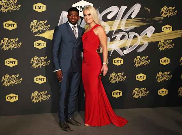 "<a class=""link rapid-noclick-resp"" href=""/nhl/players/4558/"" data-ylk=""slk:P.K. Subban"">P.K. Subban</a> and Lindsey Vonn made their debut as a couple on the red carpet of the 2018 CMT Music Awards. (REUTERS/Jamie Gilliam)"