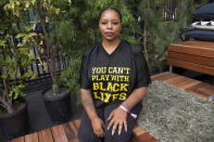 "FILE - In this Nov. 4, 2018, file photo, Patrisse Cullors poses for a photo on day three of Summit LA18 in Los Angeles. Black Lives Matter's influence faces a test, as voters in the Tuesday, Nov. 3, 2020, election consider candidates who endorsed or denounced the BLM movement amid a national reckoning on race. ""We're a very young organization with a whole lot of visibility in a really short amount of time,"" Cullors, one of three BLM co-founders, told The Associated Press. (Photo by Amy Harris/Invision/AP, File)"