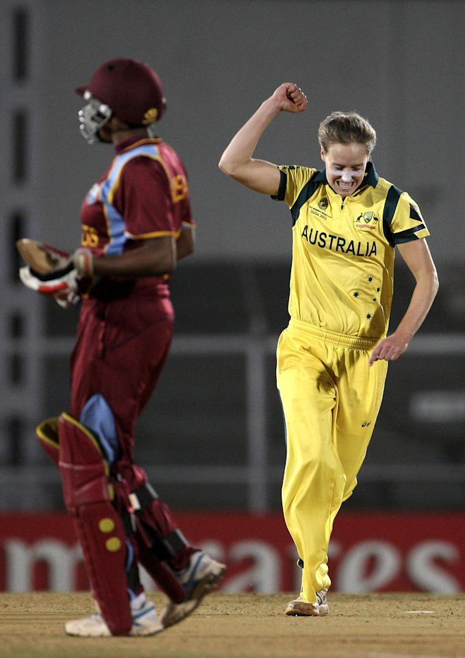 MUMBAI, INDIA - FEBRUARY 17: Ellyse Perry of Australia celebrates after dismissing Natasha Mclean of West Indies during the final between Australia and West Indies of the Women's World Cup India 2013 played at the Cricket Club of India ground on February 17, 2013 in Mumbai, India. (Photo by Graham Crouch/ICC via Getty Images)