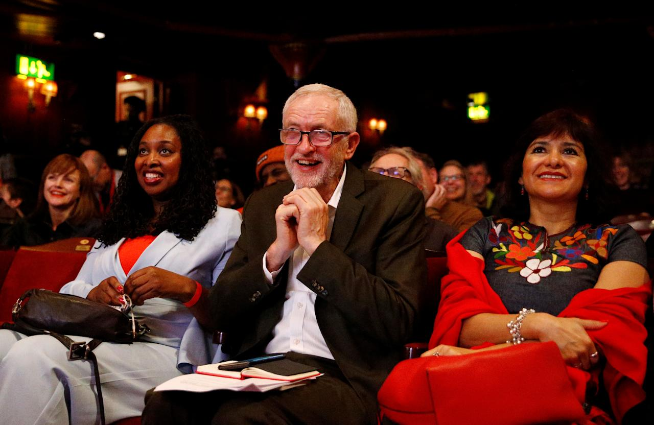 Leader of the Labour Party Jeremy Corbyn reacts next to his wife Laura and Labour's Women and Equalities Shadow Secretary Dawn Butler at the Theatre Royal in London, Britain, November 24, 2019.  REUTERS/Henry Nicholls