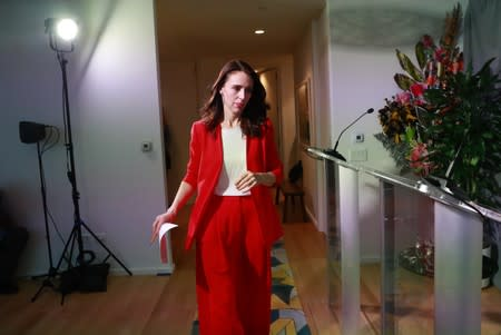 New Zealand's Prime Minister Jacinda Ardern arrives to hold a news conference on the sidelines during the 2019 United Nations Climate Action Summit at U.N. headquarters in New York City, New York, U.S.