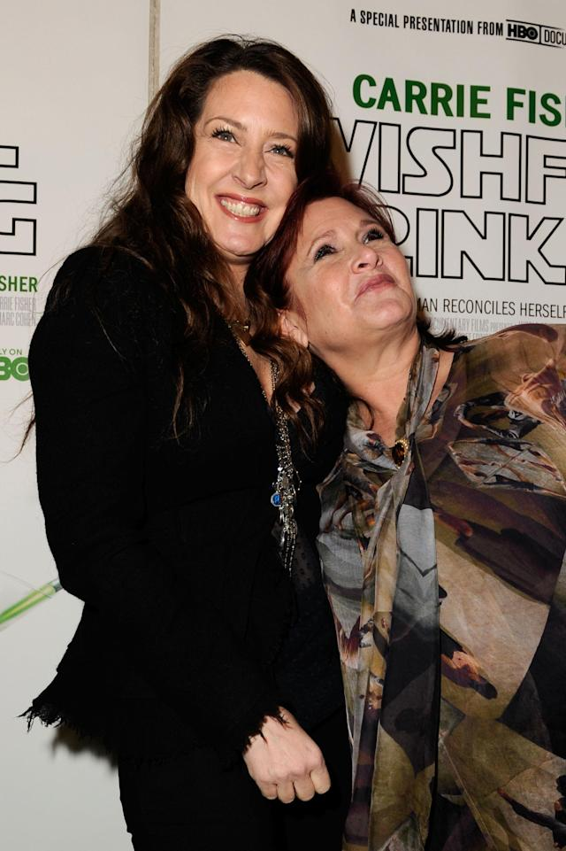 Joely and Carrie Fisher at the premiere of HBO's documentary <i>Wishful Drinking</i> in 2010 (Photo: Getty Images)